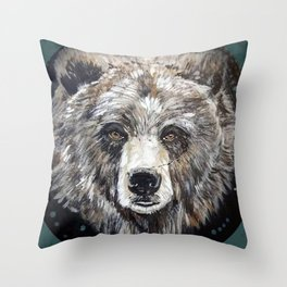 Grizzly bear, green Throw Pillow