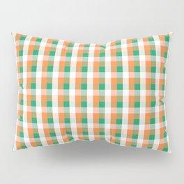 Orange White and Green Irish Gingham Check Plaid Pillow Sham