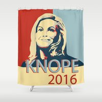 leslie knope Shower Curtains featuring KNOPE 2016 by studiomarshallarts