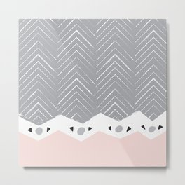 Pink & Grey Chevon Arrow Pattern Metal Print