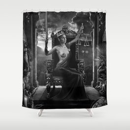 XI. Justice Tarot Card Illustration Shower Curtain