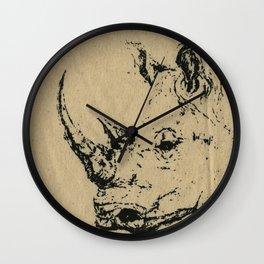 Burlap Rhino Wall Clock