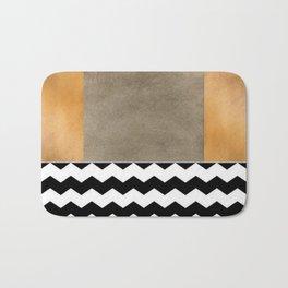 Shiny Copper Coffee Glaze And Black And White Chevron Pattern Bath Mat