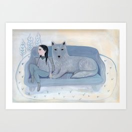 Girl with Blue Wolf Art Print