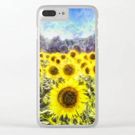 Sunflower Fields Of Summer Dreams Clear iPhone Case