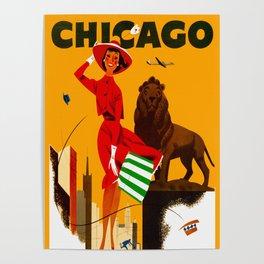 Vintage Chicago Illinois Travel Poster