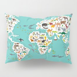 Cartoon animal world map for children and kids, Animals from all over the world Pillow Sham