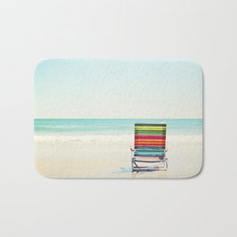 Beach Chair Photography, Colorful Coastal Ocean Landscape Bath Mat