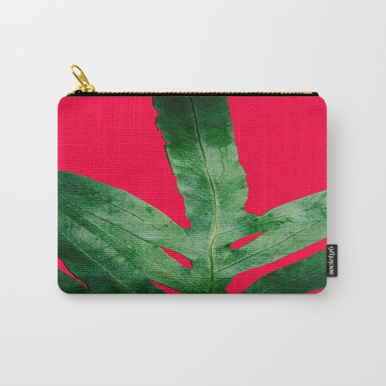 Green Fern on Bright Red Carry-All Pouch