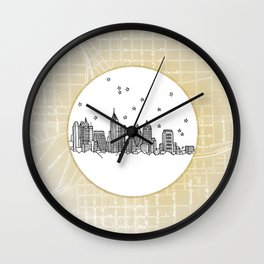 Atlanta, Georgia City Skyline Illustration Drawing Wall Clock