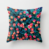 tulips Throw Pillows featuring Tulips by Madison Webb