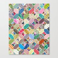 quilt Canvas Prints featuring Betty's Diamond Quilt by Rachel Caldwell