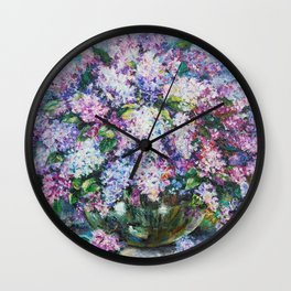 lilacs in a vase Wall Clock