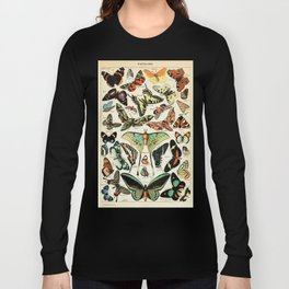Papillon I Vintage French Butterfly Charts by Adolphe Millot Long Sleeve T-shirt