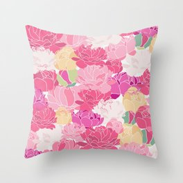 Bunch of Colorful Peonies Flowers Pattern Throw Pillow
