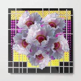 MODERN WHITE TREE PEONY FLOWERS FLORAL FUCHSIA-BLACK ART Metal Print