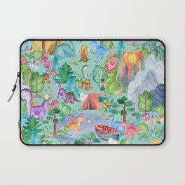 Watercolor Dinosaur Camping Kids Pattern Laptop Sleeve