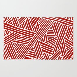 Abstract Navy Red & White Lines and Triangles Pattern Rug