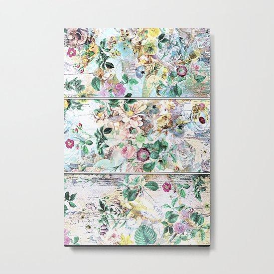 Pretty flowers on wood Metal Print