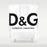 dumbledore Shower Curtains featuring Dumbledore & Grindelwald by Christina