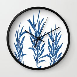 Eucalyptus Branches Blue Wall Clock