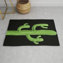 Green Cactus on Black Rug