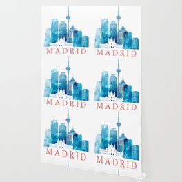 Colorful Madrid skyline Wallpaper