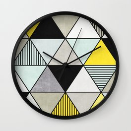 Colorful Concrete Triangles 2 - Yellow, Blue, Grey Wall Clock