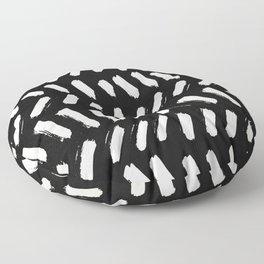Tribal Dance Dot - Ivory on Black Floor Pillow