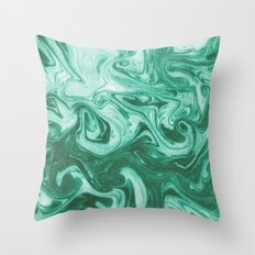 Eiji - modern minimal marbled ink paper monoprint printmaking japanese spilled ink artwork  Throw Pillow