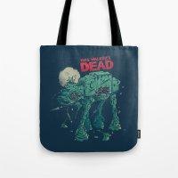 dead Tote Bags featuring Walker's Dead by Victor Vercesi