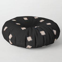 Polka Strokes Gapped - Nude on Black Floor Pillow
