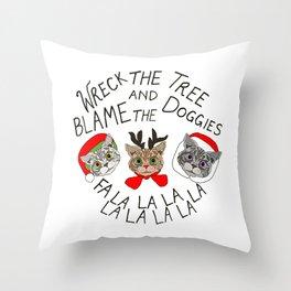 Festive Cats Throw Pillow