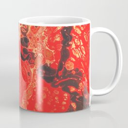 Red Fluid Abstract Painting Fallen Embers Coffee Mug
