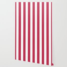 Dingy Dungeon fuchsia - solid color - white vertical lines pattern Wallpaper