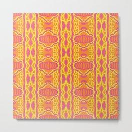 Jasper - Symmetrical Digital Art in Pink, Yellow and Orange Metal Print