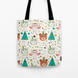 Boho Forest , Woodland Critters Tote Bag