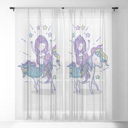 Mermaid Riding Unicorn Sheer Curtain