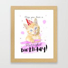 Orange Kitten Birthday Card, cat lover gift, Happy colorful greeting card Framed Art Print