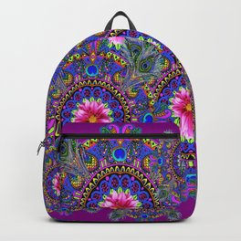 PURPLE PINK & BLUE PEACOCK MANDALAS WITH FLOWERS Backpack