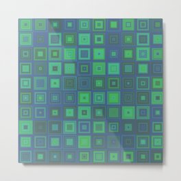 Green Abstract Square Pattern Metal Print