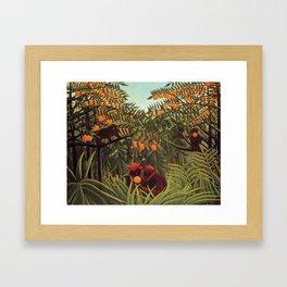 Apes in the Orange Grove by Henri Rousseau 1910 // Colorful Jungle Animal Landscape Scene Framed Art Print