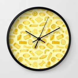 Italian Restaurant Pasta Shapes Food Pattern in Cream Wall Clock