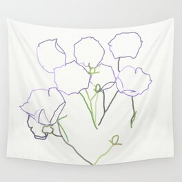 linear purple flowers (off-white) Wall Tapestry