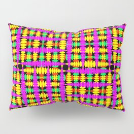 Strict poplite of intersecting blue squares and green curly rhombuses. Pillow Sham