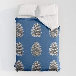 Monochrome Pine Cones Winter Blue Comforters