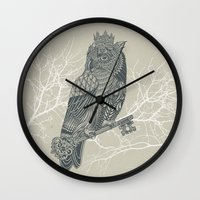 king Wall Clocks featuring Owl King by Rachel Caldwell