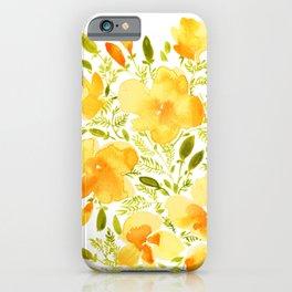 Watercolor California poppies (Quad set, #1) iPhone Case