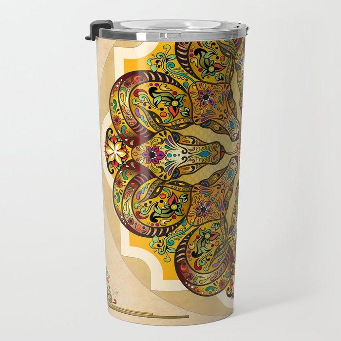 Mandala Sacred Rams - Bright Version Travel Mug
