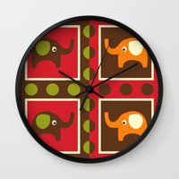 elephants Wall Clocks featuring Elephants by Zen and Chic